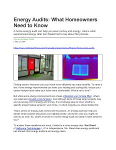 Energy Audits Article in Mother Earth News by Ken Riead