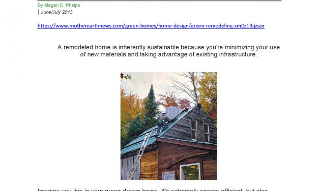 Update to Green Remodeling Article in Mother Earth News
