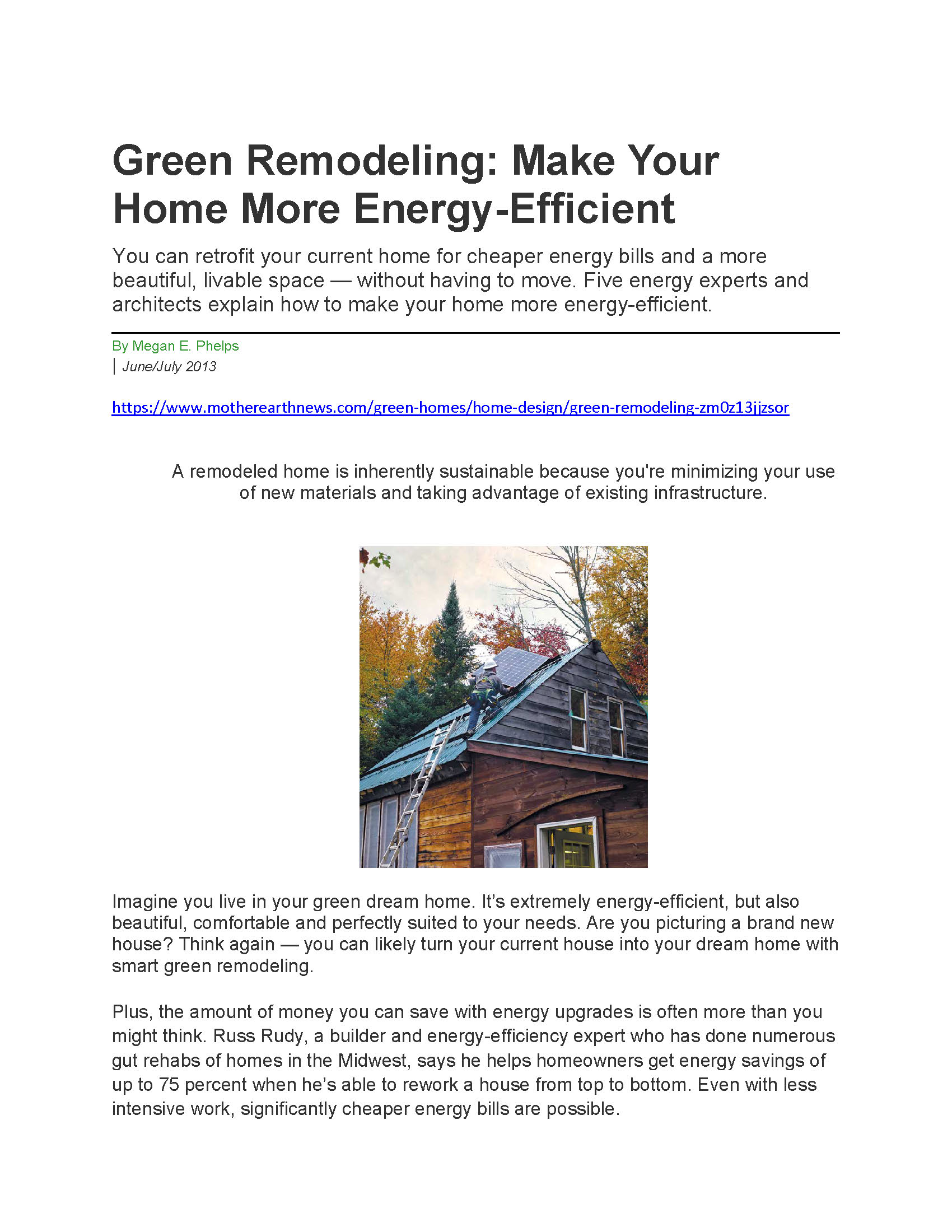 Green Remodeling Article in Mother Earth News